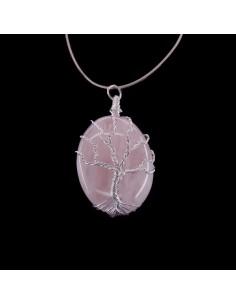 Colgante de Cuarzo Rosa y Árbol Vida Rodado - Baño de Plata