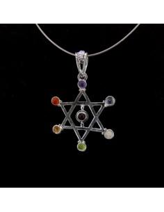 Colgante Estrella de David con Minerales de los Chakras - Baño de Plata