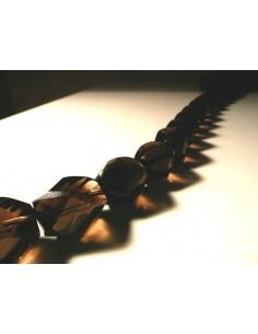 Hilo de Cuarzo Ahumado Facetado 16x20mm