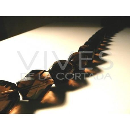 Tira de Collar Cuarzo Ahumado 40cm formas facetados 16mm x 20mm