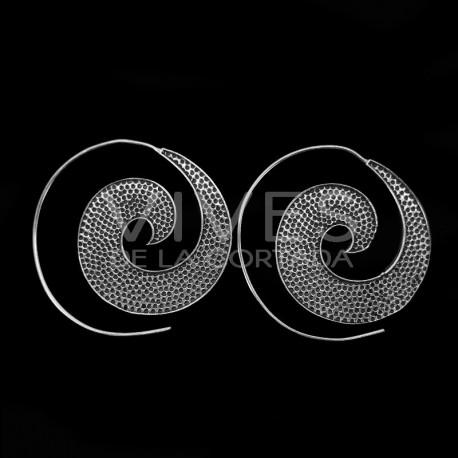 Pendientes Espiral con Baño de Plata -P38-