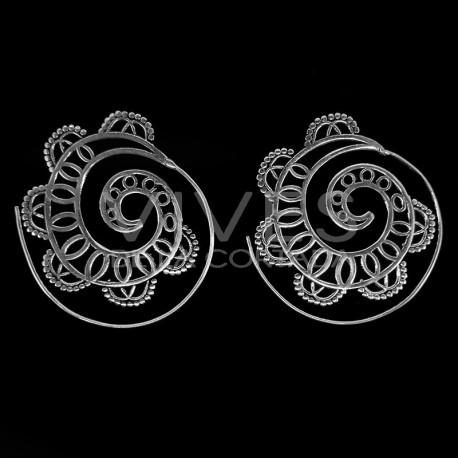 Pendientes Espiral con Baño de Plata -P48-