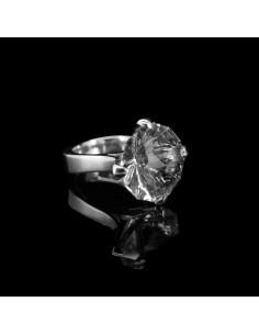 Anillo Facetado de Cuarzo Cristal (L54)