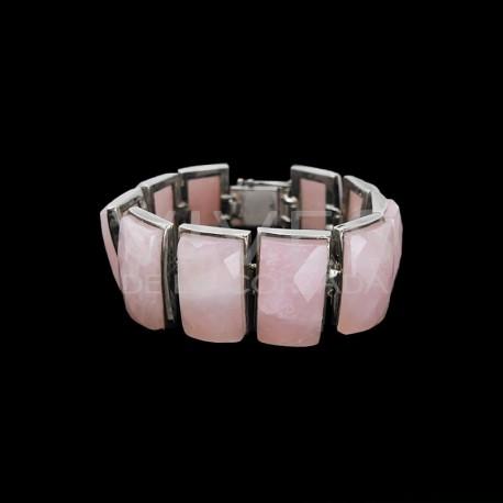 Pulsera de Cuarzo Rosa Facetado en Plata de Ley 925(L64)