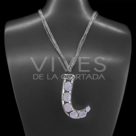 Collar en Plata de Ley 925 con Cuarzo Rosa (L65)