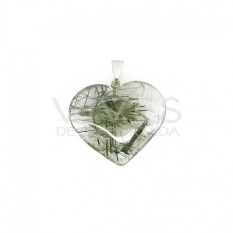 Colgante Corazón de Cuarzo con Turmalina Verde