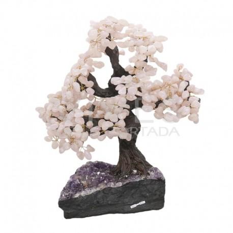 Bonsai de Quarzo Rosa con Base de Drusa de Amatista (AR1)