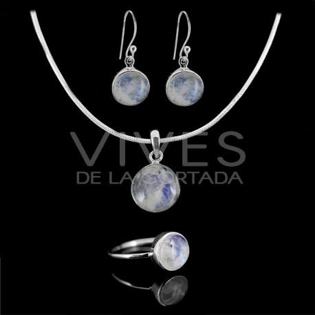 Conjunto de Piedra Luna Circulo Facetado en Plata de Ley 925