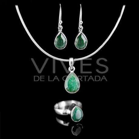 Conjunto de Esmeralda Gota Facetado en Plata de Ley 925