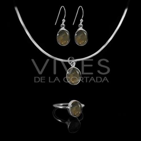 Conjunto de Labradorita Óvalo Facetada en Plata de Ley 925 (Estilo B)