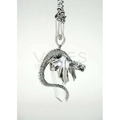 Colgante dragón en plata y cuarzo