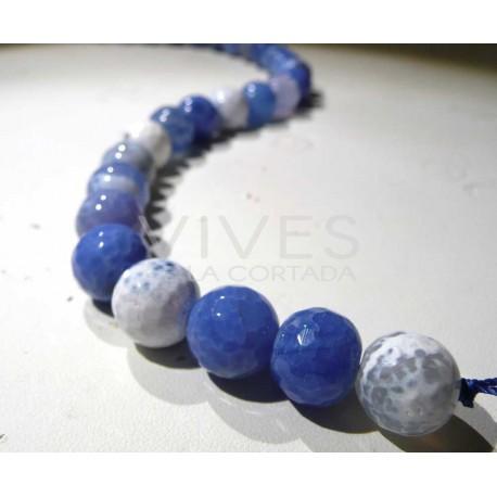 Hilo Agata Azul bolas facetadas 10mm