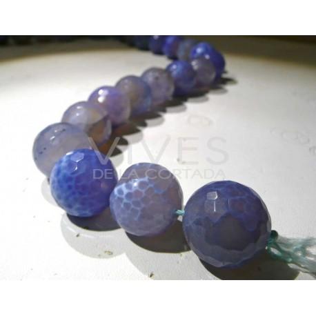 Hilo Agata Azul bolas facetadas 18mm