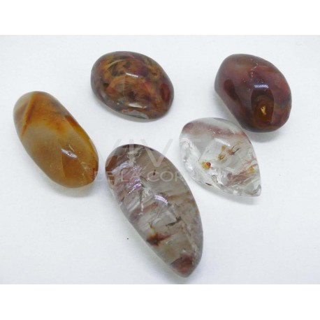 Cuarzo Óptico, piezas pulidas redondeadas con efecto lupa, cuarzo de alta calidad con incrustaciones e lodolitas, rutilos y oxid