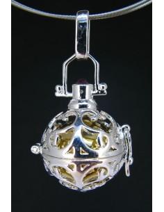 Colgante Llamador de Ángeles 2 con Cabujón de Granate - Baño de Plata