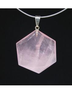 Colgante de Cuarzo Rosa con Forma Geométrica Hexagonal