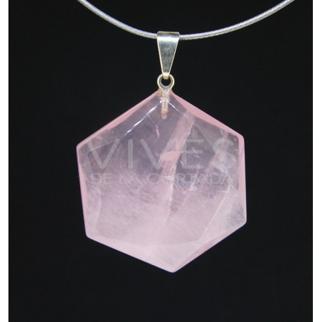 Colgante Forma geometrica hexagonal en Cuarzo rosa