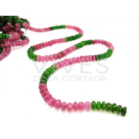 Hilo Turmalina Rosa y Verde Intenso Disco 6mm