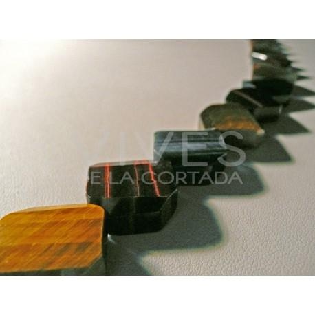 Tira collar mix Ojo de Tigre/Ojo de Halcon/Ojo de Buey 40cm Rectangulos planos facetados 18mm x 9mm.