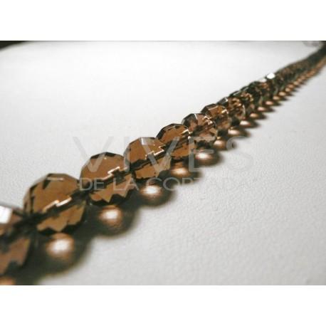 Tira de Collar de Cuarzo Ahumado 40cm bolas facetadas 8mm.