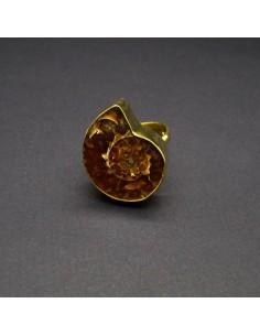 Anillo de Bronce Ajustable con Ammonite -11-