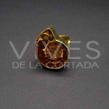 Anillo Ajustable de Bronce con Ammonite -11-