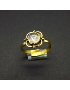 Anillo de Bronce Ajustable Flor con Piedra Luna -6-