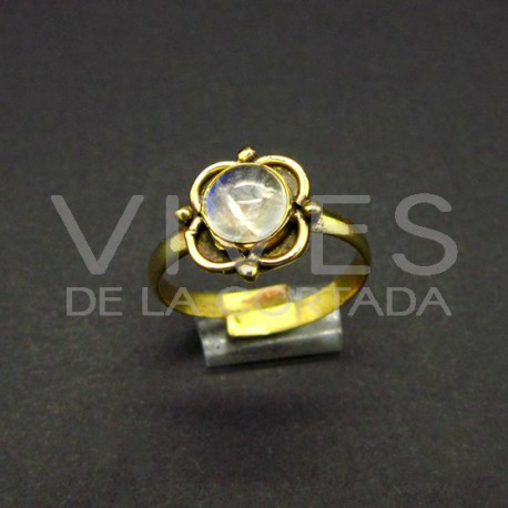 Anillo Ajustable Flor de Bronce con Piedra Luna -6-
