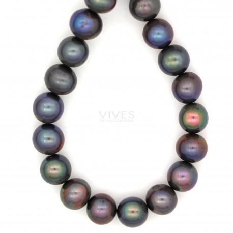 Hilo Perla Cultivada Gris Ovalo Liso 7x5mm