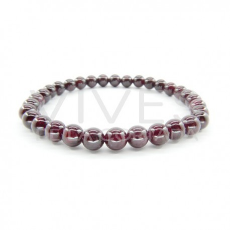 Pulsera de Granate Bola Lisa 6mm