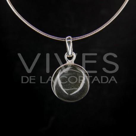 Colgante de Cuarzo Blanco Círculo Grande - Plata de Ley 925