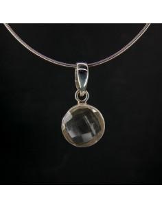 Colgante de Cuarzo Blanco Círculo Facetado - Plata de Ley 925