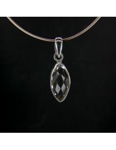 Colgante de Cuarzo Blanco Ojo Facetado - Plata de Ley 925