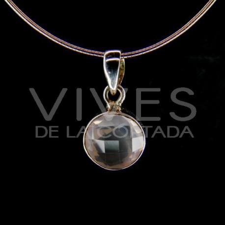 Colgante de Cuarzo Rosa Círculo Facetado - Plata de Ley 925