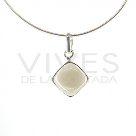 Colgante de Cuarzo Ahumado Cubo Pequeño - Plata de Ley 925