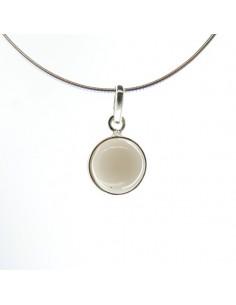 Colgante de Cuarzo Ahumado Círculo Pequeño - Plata de Ley 925
