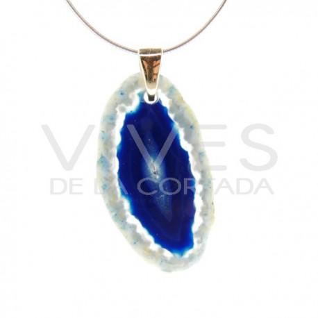 Colgante de Ágata Teñida Azul - Baño Dorado