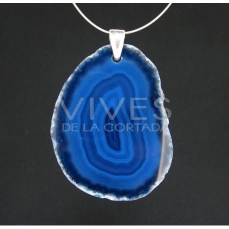 Colgante de Ágata Teñida de Azul - Baño de Plata