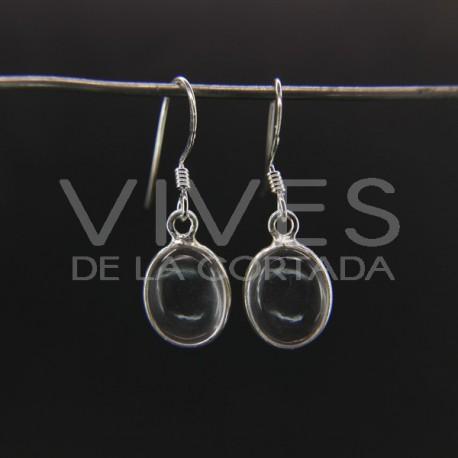 Pendientes de Cuarzo Óvalo Liso Pequeño - Plata de Ley 925