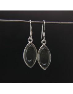 Pendientes de Cuarzo Ojo Liso Grande - Plata de Ley 925
