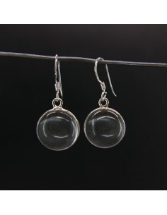 Pendientes de Cuarzo Círculo Liso Grande - Plata de Ley 925