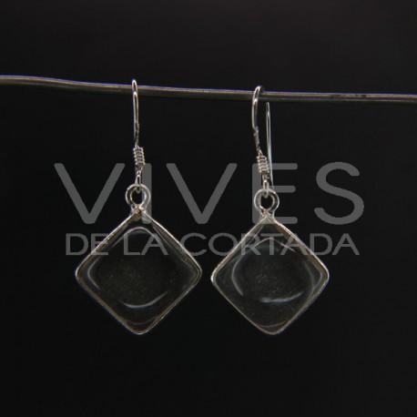 Pendientes de Cuarzo Cubo Liso Grande - Plata de Ley 925