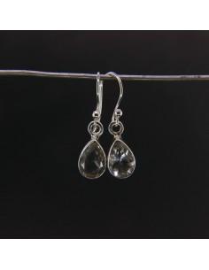 Pendientes de Cuarzo Lágrima Facetada Pequeña - Plata de Ley 925