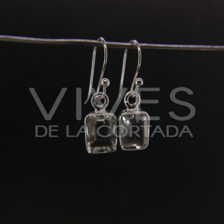 Pendientes de Cuarzo Rectángulo Facetado Pequeño - Plata de Ley 925