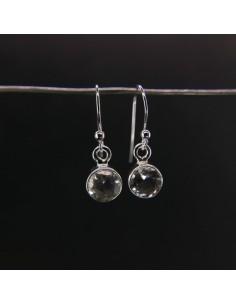 Pendientes de Cuarzo Círculo Facetado Pequeño - Plata de Ley 925