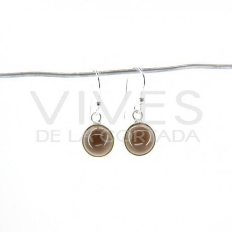 Pendientes de Cuarzo Ahumado Círculo Liso Pequeño - Plata de Ley 925