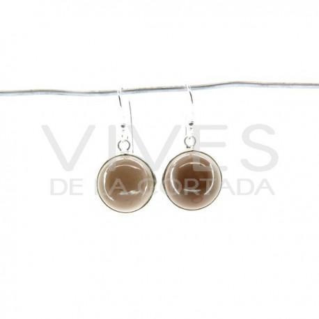 Pendientes de Cuarzo Ahumado Círculo Liso Grande - Plata de Ley 925