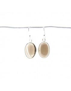 Pendientes de Cuarzo Ahumado Óvalo Liso Grande - Plata de Ley 925