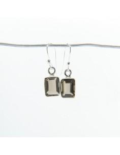 Pendientes de Cuarzo Ahumado Rectángulo Facetado - Plata de Ley 925